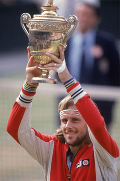 Borg winning Wimbledon in 1980