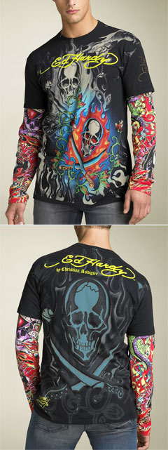 Ed Hardy 'Platinum Flocked' Double Sleeve T-Shirt via Nordstrom, $92.00