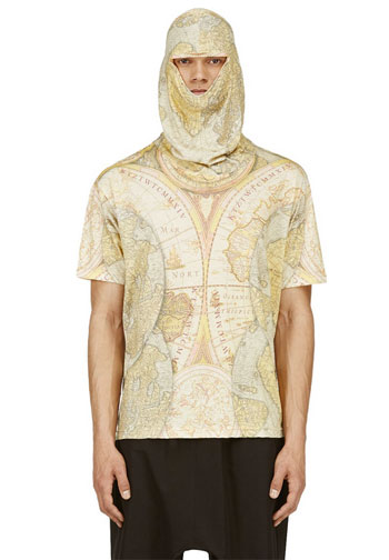 Show Us Your Game Face, Dude! KTZ Yellow Digital Map Print Mask T-Shirt