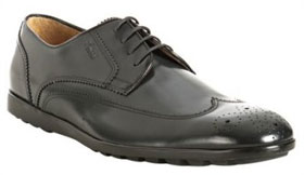 Gucci grey polished leather wing-tip oxfords via bluefly.com, $420.00