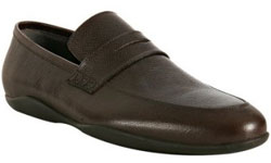 Harry's of London dark brown caviar leather 'Downing' penny loafers via bluefly.com, $440.00
