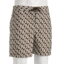 Penguin brown retro swirl 'Eddie Cooke' volley swim shorts  via Bluefly, $35.00