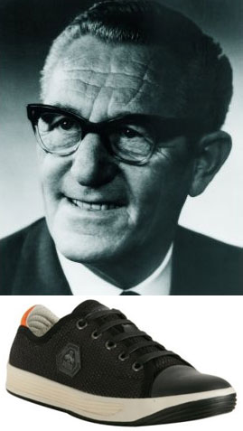 Rudolf Dassler pictured with a model of his namesake shoes