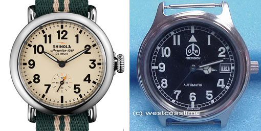 A $500 quartz Shinola (left) and a $325 mechanical O@W (right)