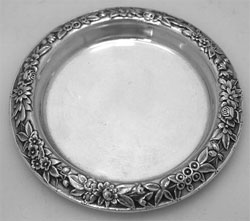 S Kirk & Son Repousse Sterling Silver Coaster 1940 via Ruby Lane, $175.00