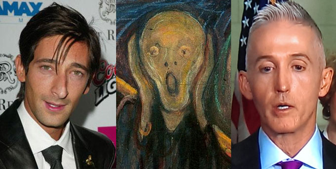 Adrian Brody, the guy from <em>The Scream</em>, and Trey Gowdy at the post-hearing press conference